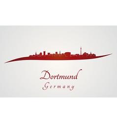 Dortmund skyline in red vector