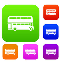 double decker bus set collection vector image
