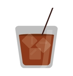 Glass cocktail drink ice straw vector