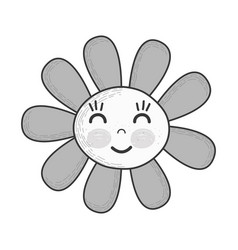grayscale kawaii flower happy cheeks and close vector image