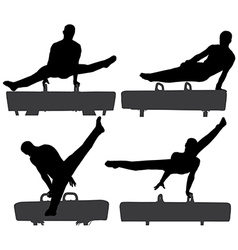Gymnast on pommel horse silhouette vector