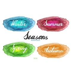 Handwritten season names on watercolor background vector