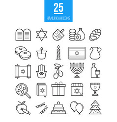 Hanukkah line icons set vector