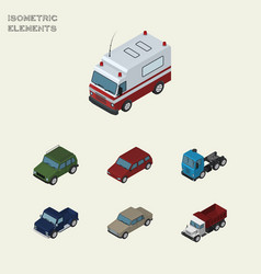 Isometric car set of suv truck freight and other vector