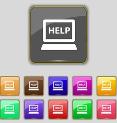 Laptop tech service icon sign Set with eleven vector image