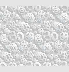 Paper 3d om seamless pattern vector