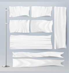 Realistic template blank white flags vector