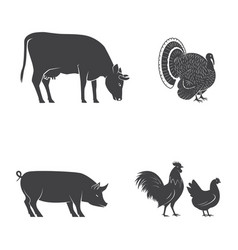Set of farm animals isolated on the white vector