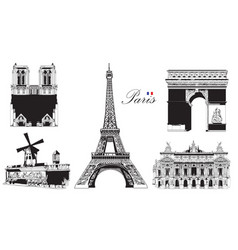 set of landmarks of paris vector image vector image