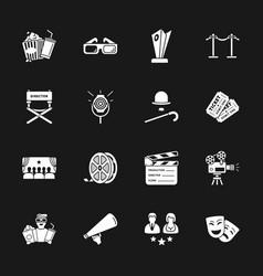 Sixteen cinema icons vector