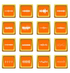 sound wave icons set orange vector image