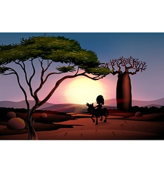 Sunset scenery vector image vector image