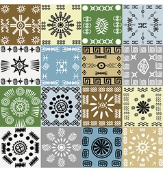 Tribal motifs background in squares vector