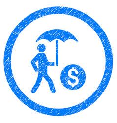 Walking businessman under umbrella rounded grainy vector