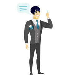Young asian groom with speech bubble vector