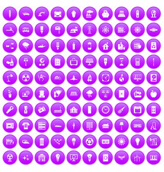 100 electricity icons set purple vector