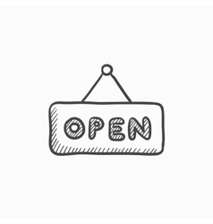 Open sign sketch icon vector