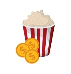 Popcorn and coins icon vector