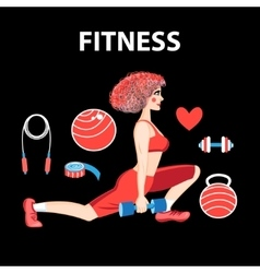 Girl engaged in fitness vector