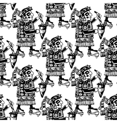 Seamless mayan and aztec totems pattern vector