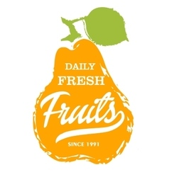 Daily fresh fruits hand drawn isolated label vector
