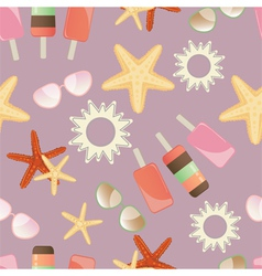 Summer sun starfish and icrecream vector image