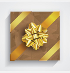 Brown gift box - gold christmas and birthday bow vector