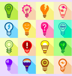 lamp logo icons set flat style vector image