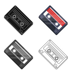 Audio cassette icon in cartoon style isolated on vector