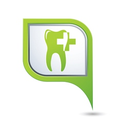 Dental clinic symbol on green map pointer vector