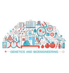 Modern flat thin line design biology genetics and vector