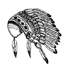 Native american indians chief headdress isolated vector