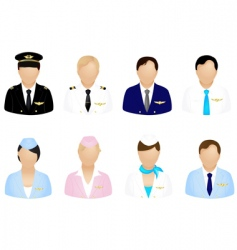 Aircraft crew icons vector