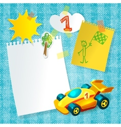 Toy racing car paper postcard template vector