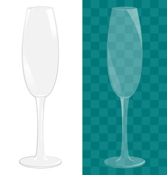Transparent isolated sparkling wine glass vector