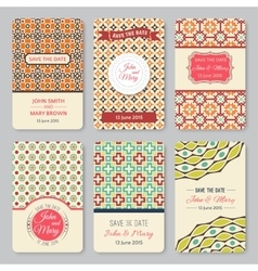 Set of perfect wedding templates with pattern vector