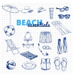 Hand drawn  beach essentials vector
