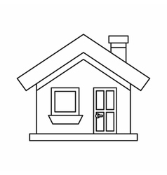 Cottage with a chimney icon outline style vector