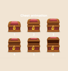 animation step by step open and closed old wooden vector image