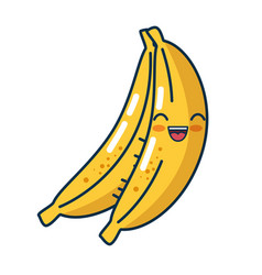 Banana fresh fruit character handmade drawn vector