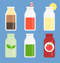 Bottle icon set collection vector