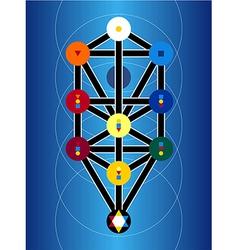 Cabala jewish symbols on blue background vector