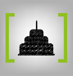 Cake with candle sign black scribble icon vector