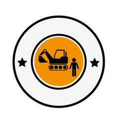 Circular frame with pictogram with forklift truck vector