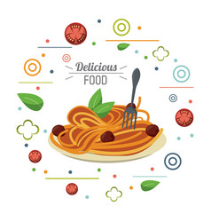 Delicious food italian dish pasta and fork card vector