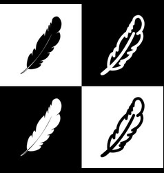 Feather sign black and white vector