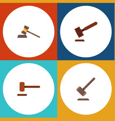 Flat icon court set of court justice tribunal vector