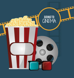 Going to cinema pop corn 3d glasses film strip vector