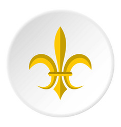 Gold royal lily icon circle vector