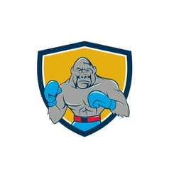 Gorilla boxer boxing stance crest cartoon vector